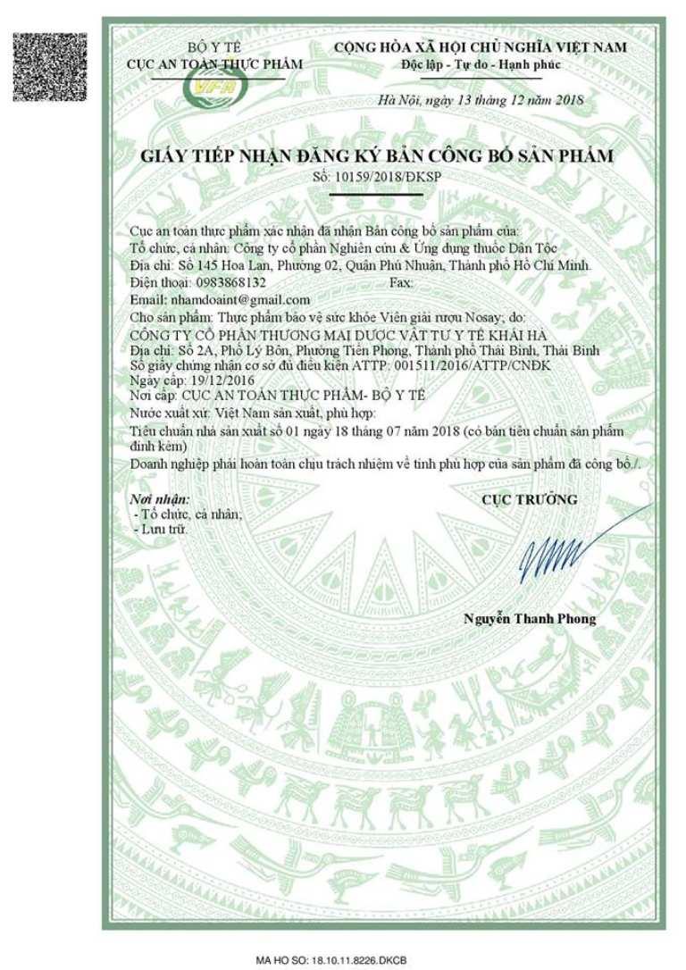 Nosay được cấp phép an toàn bởi Bộ Y tế