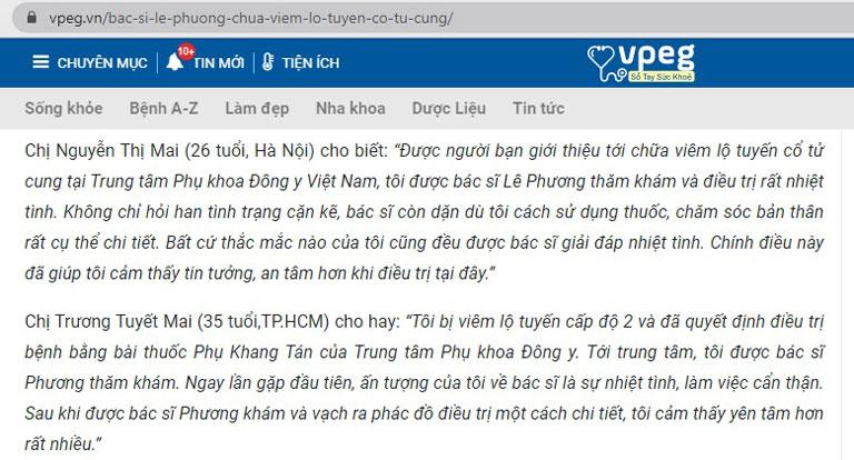 Bác sĩ Lê Phương được người bệnh tin tưởng