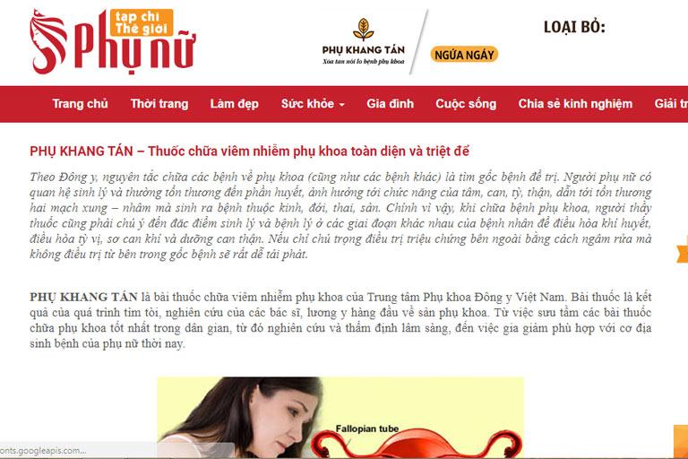 Phụ Khang Tán được đưa tin trên một chuyên trang dành cho phụ nữ