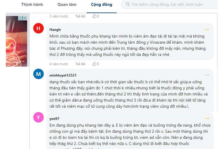 Bài thuốc Phụ Khang Tán được nhiều chị em review tích cực trên webtretho