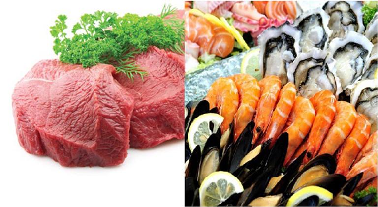Thịt bò, hải sản- thực phẩm người bệnh nên kiêng