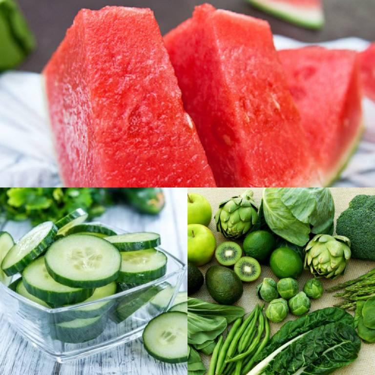 Dưa hấu, dưa chuột, rau xanh là những thực phẩm rất tốt mà người bệnh thủy đậu nên ăn