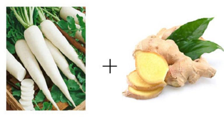 Có thể kết hợp gừng với củ cải trắng để điều trị viêm họng hạt cho phụ nữ có thai