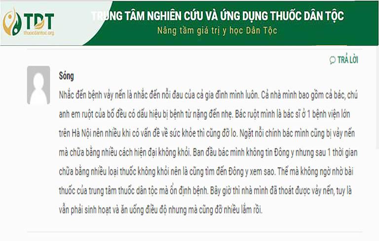 Người bệnh để lại đánh giá trên trang thuocdantoc.org