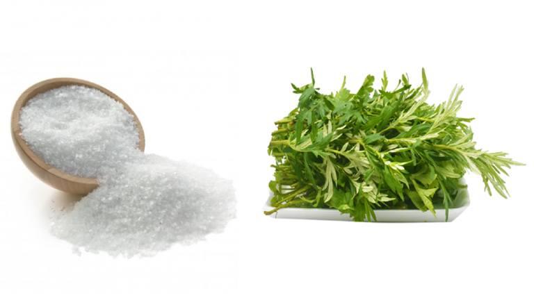 Sử dụng ngải cứu và muối là mẹo chữa đau vai gáy được nhiều người áp dụng