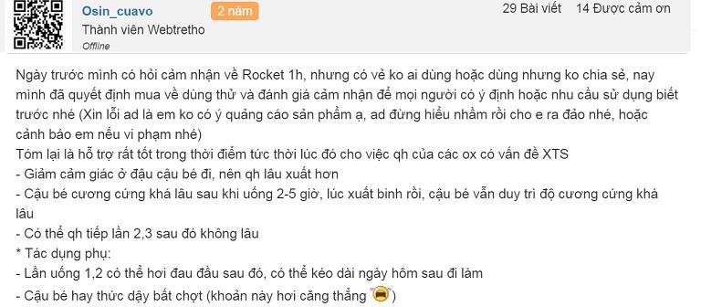 Sản phẩm tăng cường sinh lực đàn ông Rocket 1h