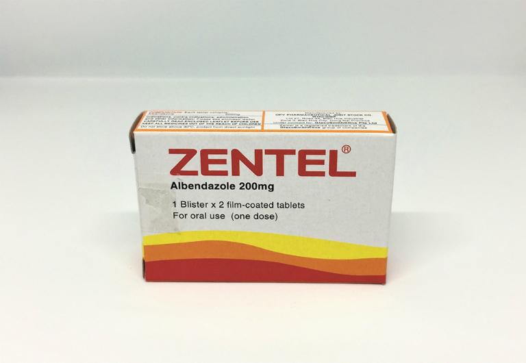 Thuốc tẩy giun Zentel dùng đề điều trị nhiễm giun tóc, giun móc, giun kim, giun đũa, sán lá gan,...