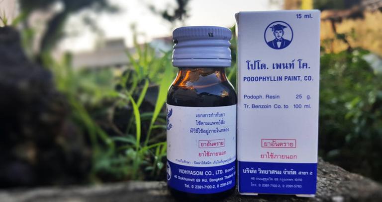 Thuốc bôi Podophyllin 25% của Thái Lan là loại thuốc đặc hiệu để điều trị bệnh sùi mào gà