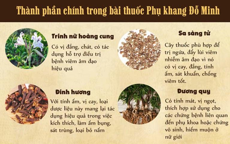 Thành phần thảo dược hoàn toàn tự nhiên của bài thuốc Phụ Khang Đỗ Minh