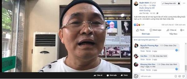 Hình ảnh buổi livestream chia sẻ của nghệ sĩ Xuân Hinh về hành trình chữa khỏi bệnh thoái hóa xương khớp bằng bài thuốc của dòng họ Đỗ Minh