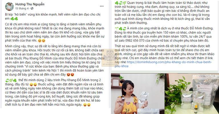 Bài chia sẻ của hot mom Nguyễn Thu Hương về bài thuốc Phụ Khang Đỗ Minh