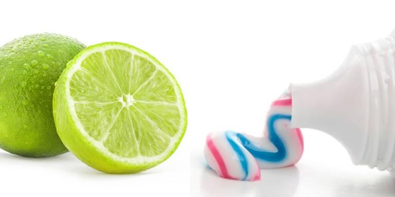 Chanh và kem đánh răng đem lại hiệu quả tốt cho việc trị hôi chân