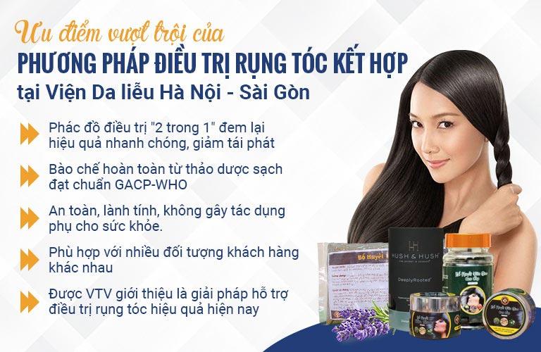 Những ưu điểm vượt trội của giải pháp ngăn rụng tóc và kích thích mọc tóc tại Viện Da liễu Hà Nội - Sài Gòn