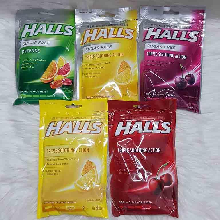 Kẹo Halls ngậm trị ho rất đa dạng về hương vị, chủng loại