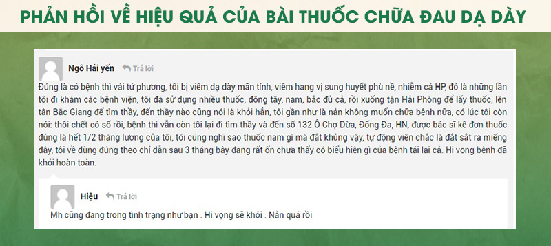 Chia sẻ từ bạn Ngô Hải Yến về bài thuốc Sơ can bình vị tán chữa đau dạ dày của Thuốc dân tộc