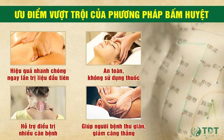 Phương pháp bấm huyệt có nhiều ưu điểm