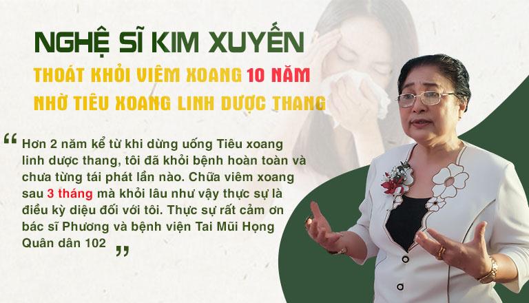 Nghệ sĩ Kim Xuyến chữa khỏi viêm xoang đeo bám 10 năm nhờ Tiêu xoang linh dược thang