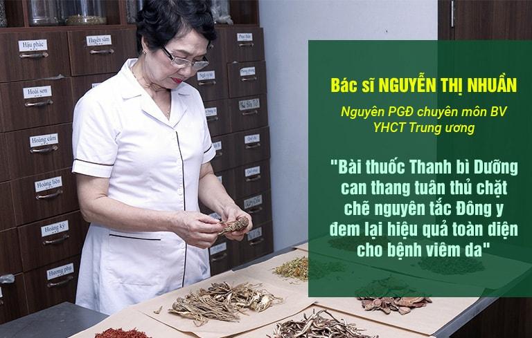 Bác sĩ Nguyễn Thị Nhuần đánh giá cao bài thuốc Thanh bì Dưỡng can thang