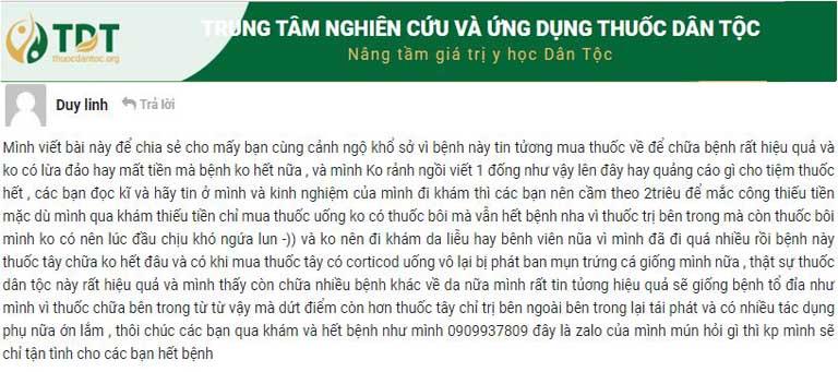 Phản hồi của bệnh nhân Duy Linh trên trang thuocdantoc.org