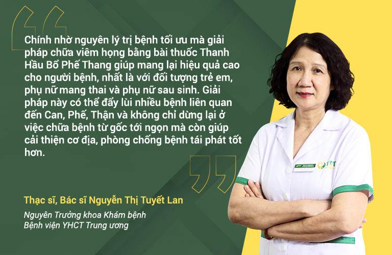 Bác sĩ Tuyết Lan nhận xét bài thuốc Thanh Hầu Bổ Phế Thang