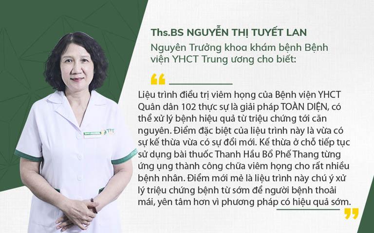 Bác sĩ Tuyết Lan nhận xét liệu trình điều trị viêm họng Bệnh viện 102