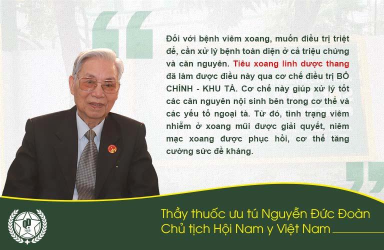 Thầy thuốc Nguyễn Đức Đoàn đánh giá bài thuốc Tiêu xoang Linh Dược Thang