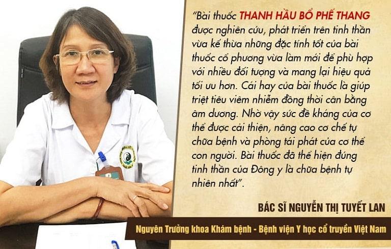 Bác sĩ Tuyết Lan đánh giá như thế nào về Thanh hầu bổ phế thang