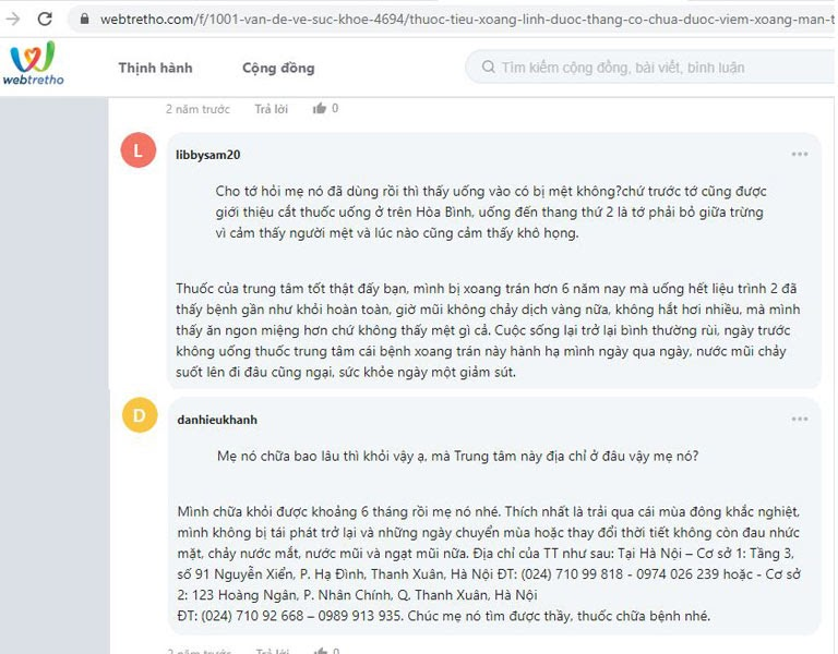 Người dùng nói về hiệu quả của Tiêu Xoang Linh Dược Thang trên webtretho