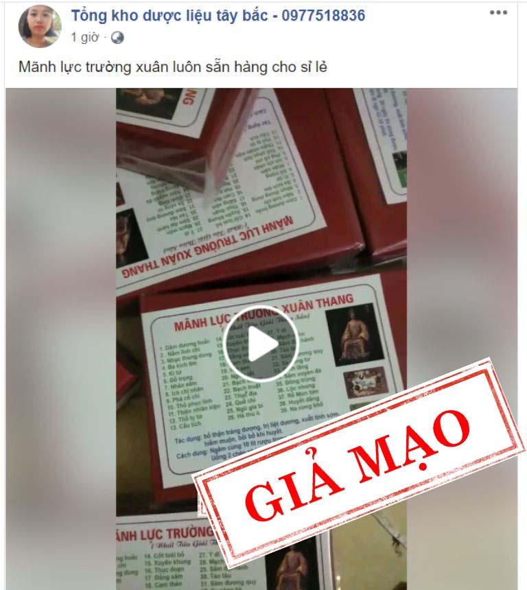 Các đối tượng ngang nhiên chào bán Mãnh lực trường xuân giả trên facebook