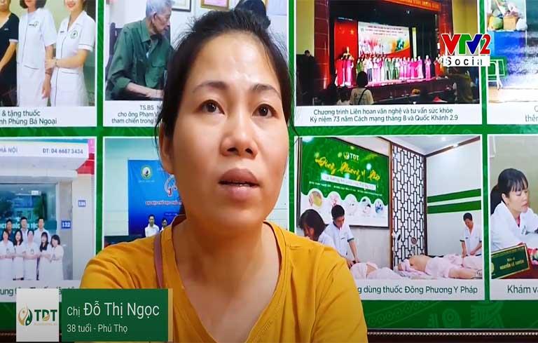 Chị Đỗ Thị Ngọc chia sẻ hiệu quả bài thuốc Tiêu ban Giải độc thang trên VTV2