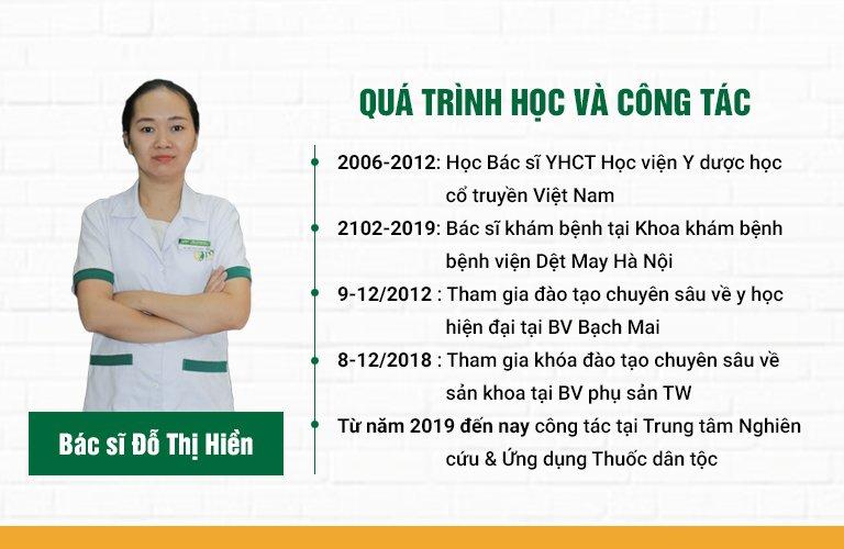 Quá trình học tập và công tác của bác sĩ Hiền