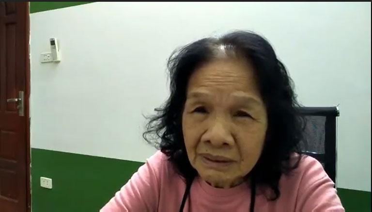 Cô Đoàn Thị Trâm chia sẻ triệu chứng tình trạng bệnh của mình