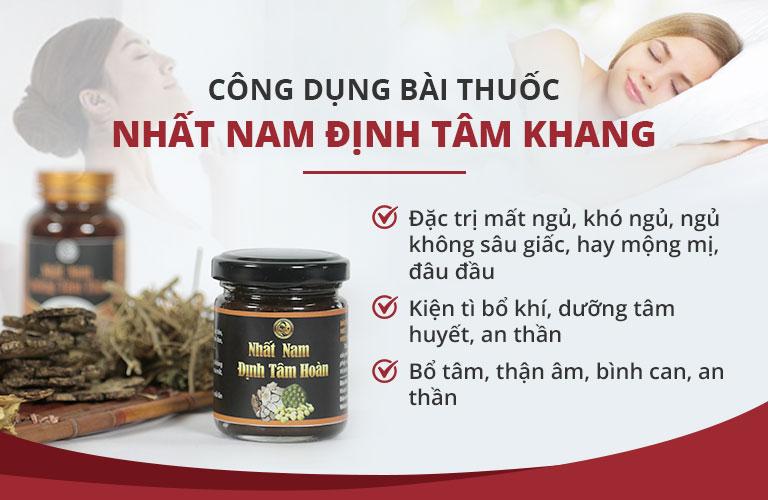 Công dụng của bài thuốc Nhất Nam Định Tâm Khang