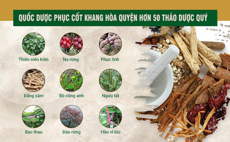 Quốc dược Phục cốt khang hòa quyện hơn 50 thảo dược quý