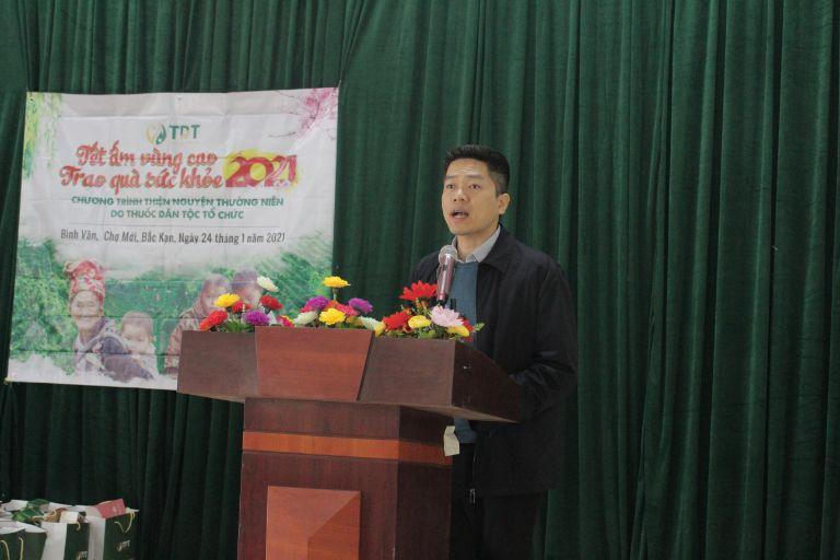 Ông Nguyễn Quang Hưng phát biểu trong buổi thiện nguyện