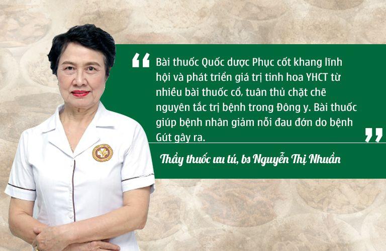 Bác sĩ Nguyễn Thị Nhuần đánh giá về hiệu quả bài thuốc Quốc dược Phục cốt khang
