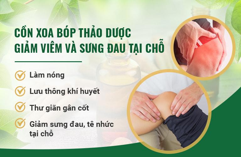 Cồn xoa bóp thảo dược được sử dụng để giảm đau nhanh chóng