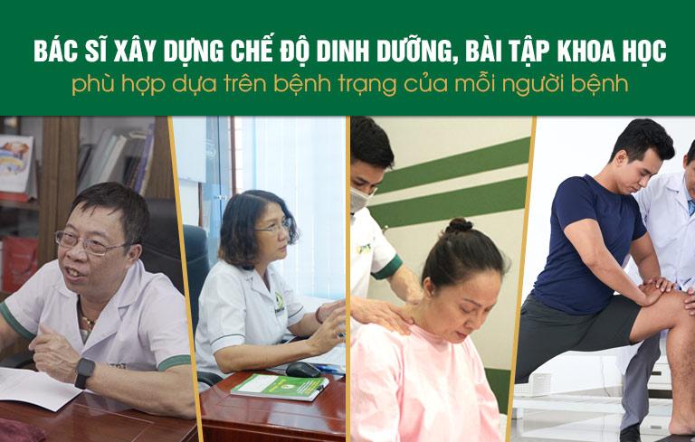 Bác sĩ tại Trung tâm xây dựng và hướng dẫn người bệnh chế độ dinh dưỡng, luyện tập