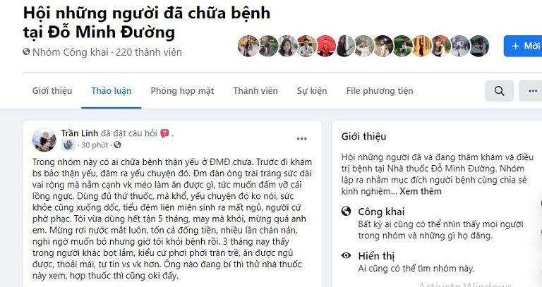 Bài đăng trên hội nhóm facebook bày tỏ sự quan tâm về bài thuốc này