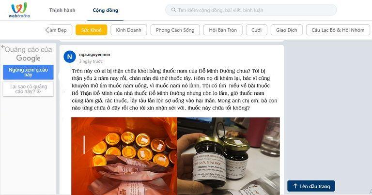 Bài đăng trên diễn đàn chia sẻ về hiệu quả dùng thuốc