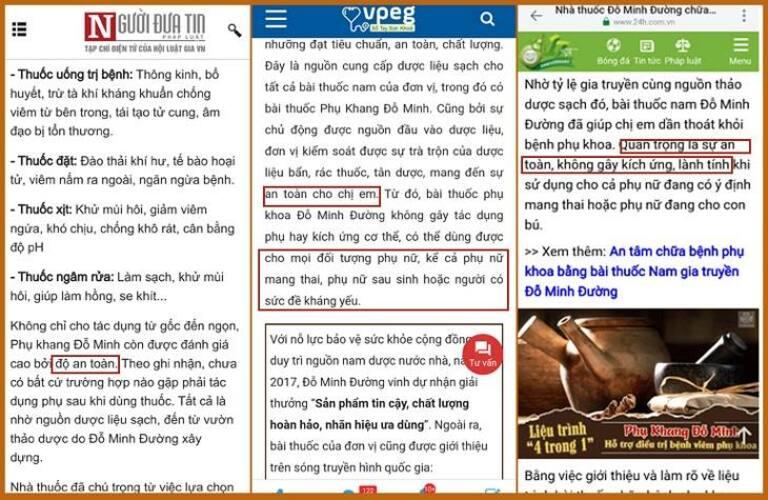 Báo chí đưa ra nhiều dẫn chứng về độ lành tính của bài thuốc Phụ Khang Đỗ Minh