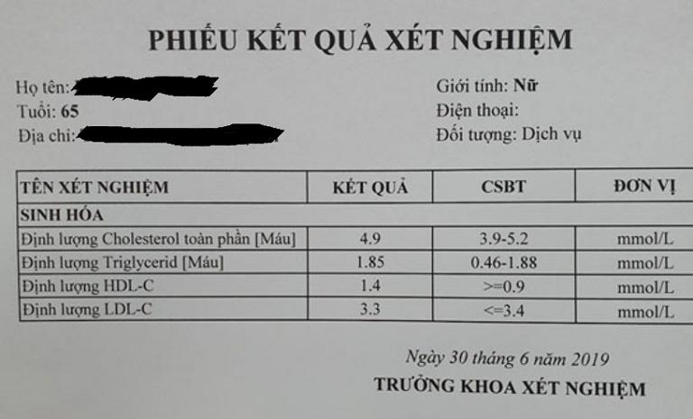 Chỉ số xét nghiệm của cô Bích