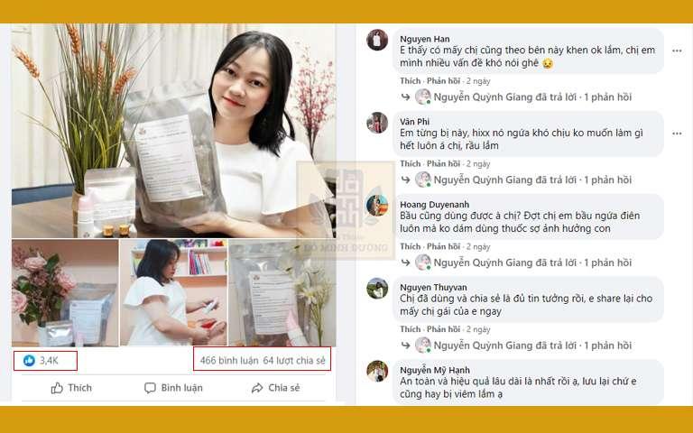 Bài chia sẻ của hotmom Quỳnh Giang về hiệu quả bài thuốc Phụ Khang Đỗ Minh